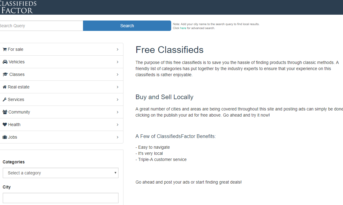 ClassifiedsFactor Site
