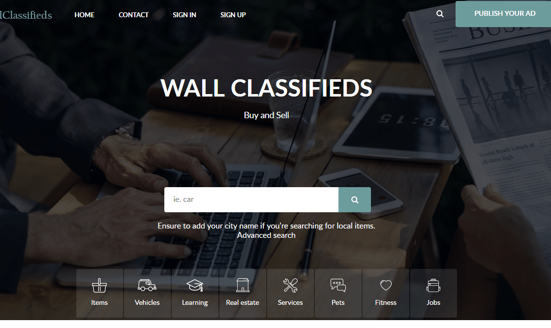 WallClassifieds Website